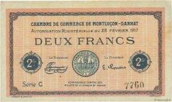 2 Francs FRANCE régionalisme et divers MONTLUÇON, GANNAT 1917 JP.084.33 SUP