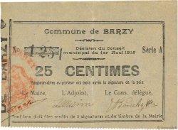 25 Centimes FRANCE régionalisme et divers BARZY 1915 JP.02-0121 TTB+