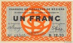 1 Franc FRANCE régionalisme et divers BÉZIERS 1914 JP.027.08 SPL à NEUF