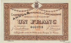 1 Franc FRANCE régionalisme et divers CARCASSONNE 1914 JP.038.08 NEUF