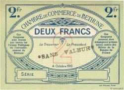 2 Francs FRANCE régionalisme et divers Béthune 1915 JP.026.12 pr.NEUF