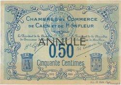 50 Centimes FRANCE régionalisme et divers Caen et Honfleur 1918 JP.034.05 TTB+