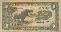 10 Francs RWANDA BURUNDI  1960 P.02 TB