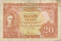 20 Cents MALAYA  1941 P.09a TB