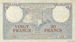20 Francs MAROC  1941 P.18b TTB+