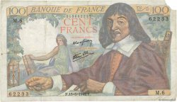 100 Francs DESCARTES FRANCE  1942 F.27.01 TB