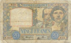 20 Francs SCIENCE ET TRAVAIL FRANCE  1940 F.12.09 B