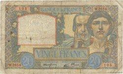 20 Francs SCIENCE ET TRAVAIL FRANCE  1940 F.12.11 B