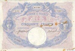 50 Francs BLEU ET ROSE FRANCE  1917 F.14.30 B