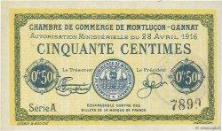 50 Centimes FRANCE régionalisme et divers MONTLUÇON, GANNAT 1916 JP.084.21 NEUF