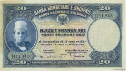 20 Franka Ari ALBANIE  1926 P.03a pr.SUP