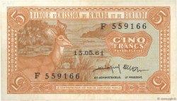 5 Francs RWANDA BURUNDI  1961 P.01 SUP