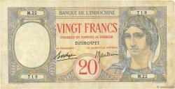 20 Francs DJIBOUTI  1928 P.07A TTB