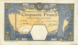 50 Francs DAKAR AFRIQUE OCCIDENTALE FRANÇAISE (1895-1958) Dakar 1929 P.09Bc TTB