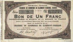 1 Franc FRANCE régionalisme et divers CLERMONT-FERRAND, ISSOIRE 1918 JP.048.01 SUP
