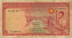 50 Francs CONGO BELGE  1959 P.32 TB