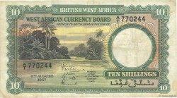10 Shillings AFRIQUE OCCIDENTALE BRITANNIQUE  1953 P.09a TTB