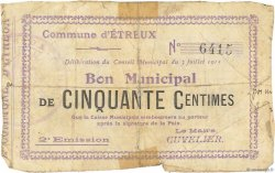 50 Centimes FRANCE régionalisme et divers ETREUX 1915 JP.02-0766 TB
