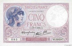 5 Francs VIOLET modifié FRANCE  1939 F.04.03 SPL