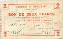 2 Francs FRANCE régionalisme et divers SINCENY 1915 JP.02-2189 TTB