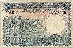 10 Francs CONGO BELGE  1952 P.22 TB