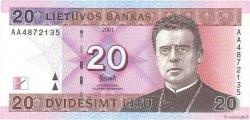 20 Litu LITUANIE  2001 P.66 NEUF