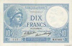 10 Francs MINERVE FRANCE  1932 F.06.16 SUP