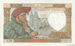 50 Francs JACQUES CŒUR FRANCE  1941 F.19.05 pr.NEUF