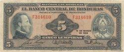 5 Lempiras HONDURAS  1965 P.051b TB
