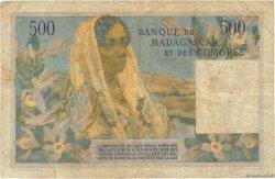 500 Francs MADAGASCAR  1954 P.47b B à TB