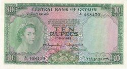 10 Rupees CEYLAN  1953 P.55 SUP