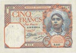 5 Francs ALGÉRIE  1933 P.077a TTB