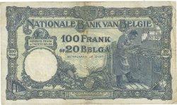100 Francs - 20 Belgas BELGIQUE  1931 P.102 TB