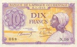 10 Francs AFRIQUE OCCIDENTALE FRANÇAISE (1895-1958)  1943 P.29 TTB