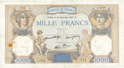 1000 Francs CÉRÈS ET MERCURE type modifié FRANCE  1937 F.38.08 TB