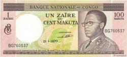 1 Zaïre - 100 Makuta CONGO (RÉPUBLIQUE)  1970 P.12a SPL