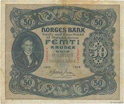 50 Kroner NORVÈGE  1944 P.09d TB à TTB