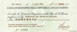 200 Lires SAINT-MARIN  1976 P.S102 NEUF