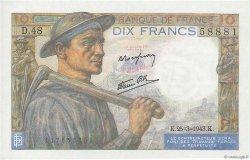 10 Francs MINEUR FRANCE  1943 F.08.08 pr.NEUF