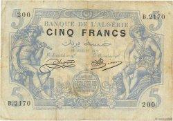 5 Francs type 1873 ALGÉRIE  1920 P.071b TB
