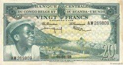 20 Francs CONGO BELGE  1959 P.31 TTB