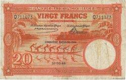 20 Francs CONGO BELGE  1944 P.15D TB