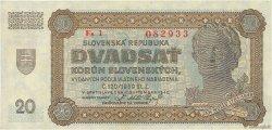 20 Korun SLOVAQUIE  1942 P.07a SPL