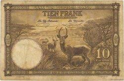 10 Francs CONGO BELGE  1937 P.09 pr.TB