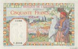 50 Francs filigrane tête TUNISIE  1945 P.12a SUP