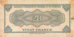 20 Francs RWANDA BURUNDI  1960 P.03 pr.TB