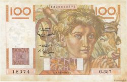 100 Francs JEUNE PAYSAN filigrane inversé FRANCE  1953 F.28bis.03 TTB
