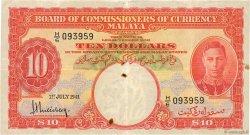10 Dollars MALAYA  1941 P.13 TTB