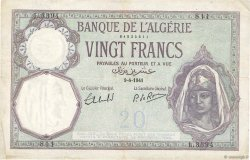 20 Francs type 1912 ALGÉRIE  1941 P.078c TTB