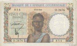25 Francs AFRIQUE OCCIDENTALE FRANÇAISE (1895-1958)  1943 P.38 TTB